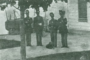 Dog with Fort Mackinac soldiers