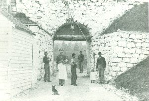 Dog with soldiers at North Sally Port Fort Mackinac