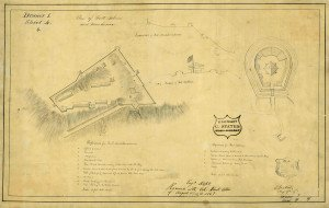 Forts Mackinac and Holmes as the they appeared to military engineer Major Charles Gratiot in 1817. Courtesy National Archives