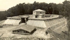 The current reconstruction of Fort Holmes is not the first to stand on the heights of Mackinac. Three earlier reconstructions recreated the original fort for island visitors, including this structure built in 1936. Both the 1936 and 2015 reconstructions closely resemble the historic fort.
