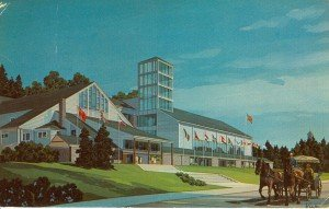 A postcard view of the architects rendering for the film studio. To the left is the theater, which included an extension of the front foyer.