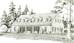 Rendering of the Scout Barracks by architect G.R. Page, of the Civilian Conservation Corp, U.S. Interior Department.