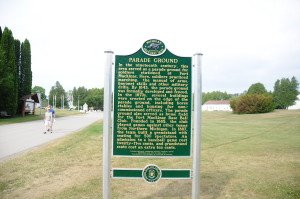 The new historic marker at the Parade Ground behind Fort Mackinac