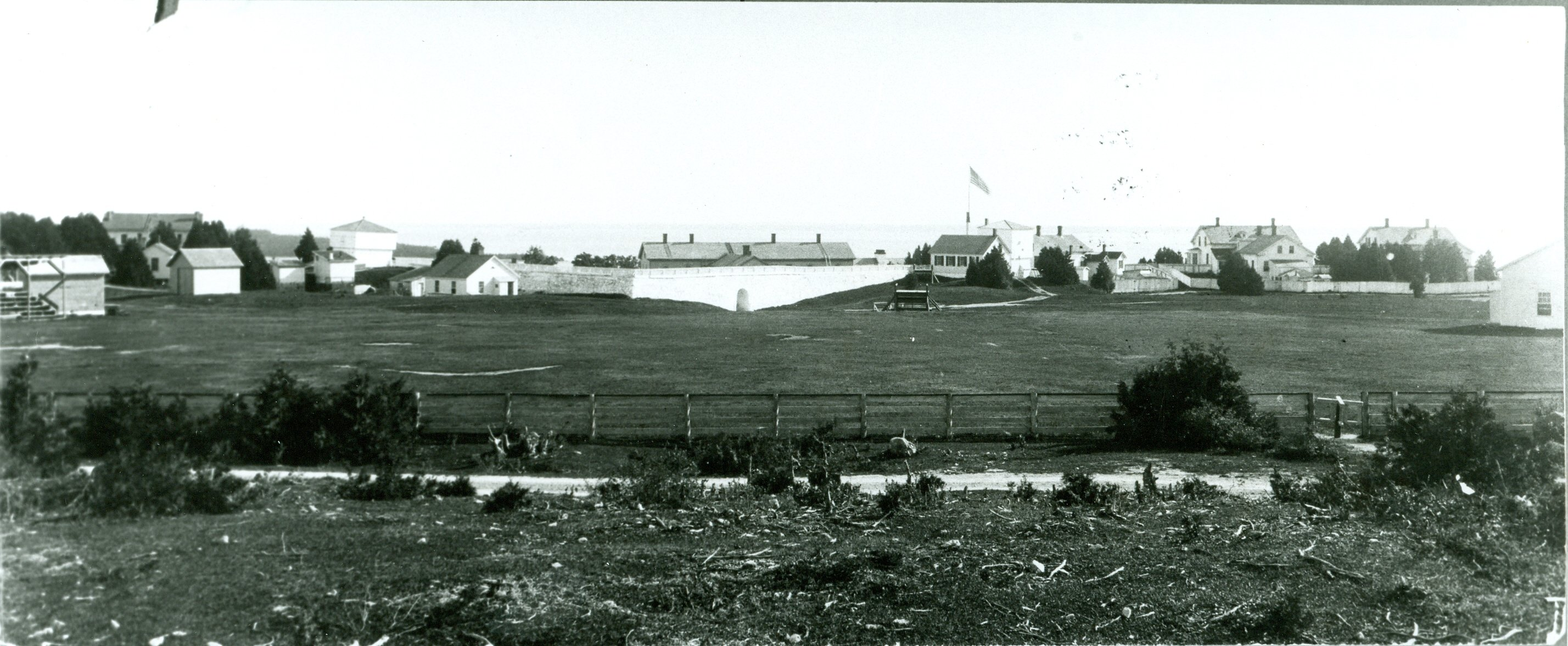 Fort Mackinac from the north, ca. 1890. The baseball field can be seen at center left, with the grandstand at extreme left.