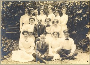 The New Mackinac Hotel staff in about 1906. The man in the center row, third from left, may be owner Fred Emerick. Martha Elliott Fitzgerald is in the center of the back row.