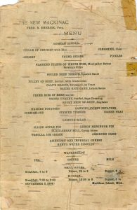 Menu from the New Mackinac, printed on birch bark, 1906.