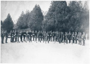 A company of the 23rd Infantry on the parade ground in the 1880s- how many mustaches can you see?