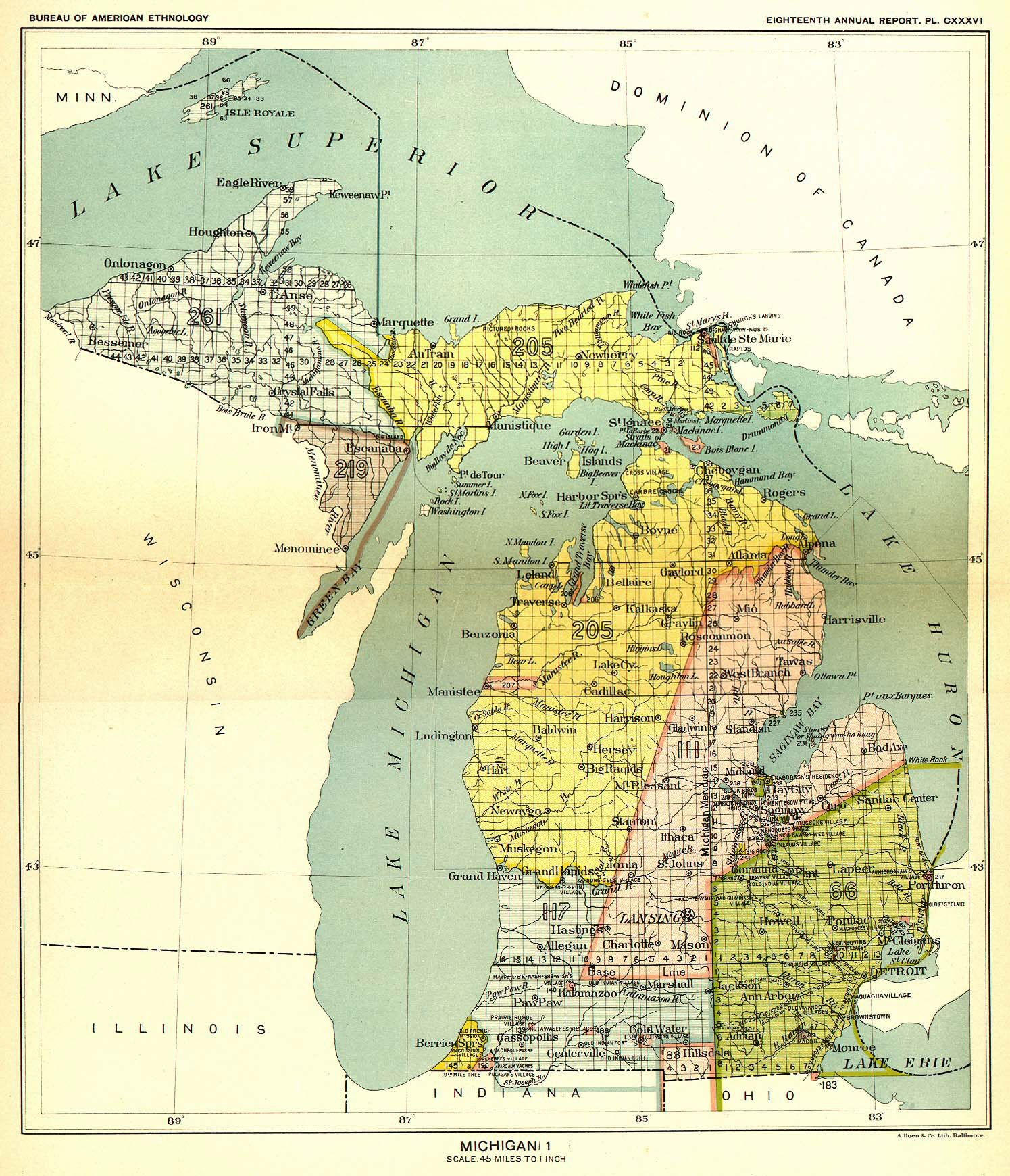 How Michigan Became A State The Treaty Of Washington - A map of the us with land treaties