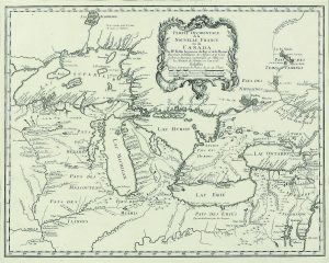 "This French map from 1745 includes the settlement at Michilimackinac as well as one at the base of Green Bay. The French called the bay ""les baie des puants,"" or bay of the stinks, perhaps because of the smell from nearby swamps."