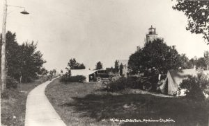The station in the 1920s, surrounded by the Michilimackinac State Park campground.