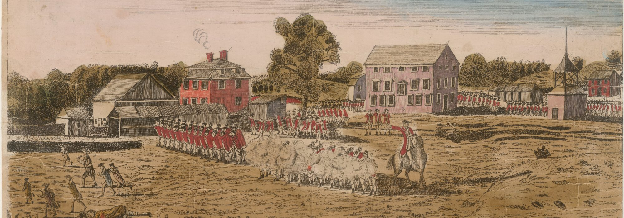 The light infantry and grenadier companies of the 10th Foot took part in the battles of Lexington and Concord on April 19, 1775. This engraving, printed soon after the battle in 1775, shows the opening engagement on Lexington green. Courtesy Anne S.K. Brown Military Collection, Brown University.