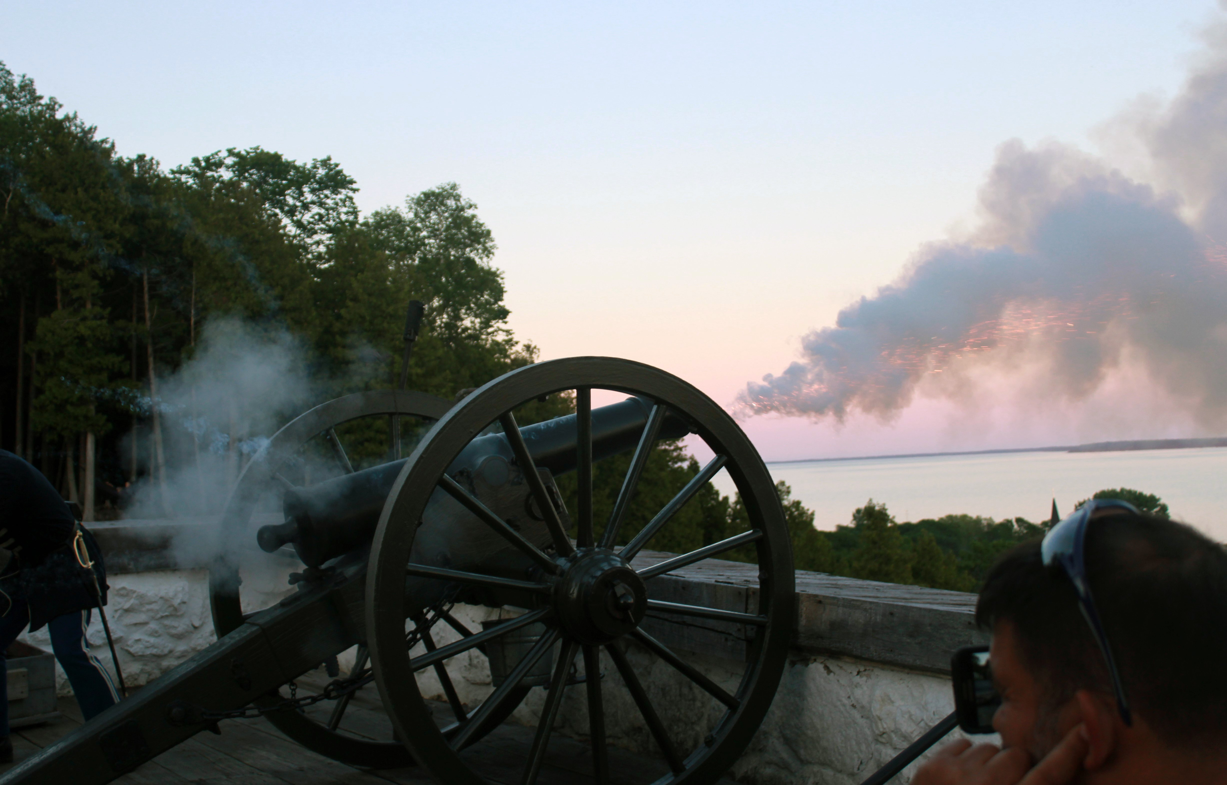 Fire at Night - Fort Mackinac Rifle and Cannon - Mackinac