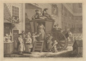 Nearly all European and American men wore felt hats in the 18th century. Hats came in numerous shapes and sizes, as seen in this 1747 engraving by famed illustrator William Hogarth.