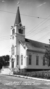 St. Anne's Church on Mackinac Island, ca. 1945. This is the building constructed in 1873.