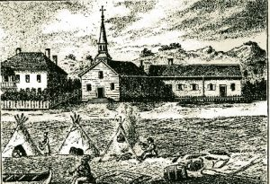 The second Ste. Anne's Church on the island, constructed in 1827, as depicted by Father Otto Skolla in 1844.