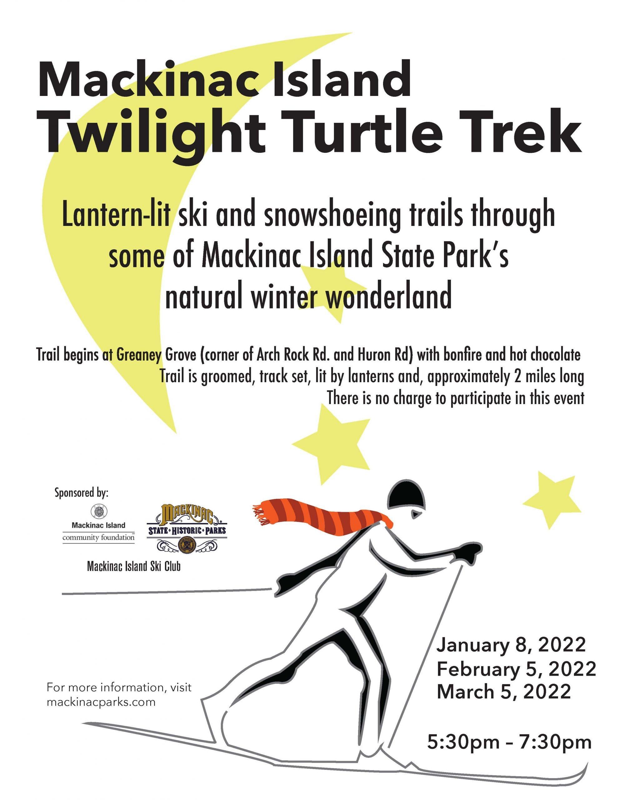A poster highlighting the Twilight Turtle Trek on Mackinac Island.