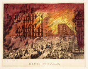 """A lithograph by Currier and Ives titled """"Chicago in Flames."""" Scene from the fire of 1871."""