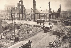 A picture of the intersection of Madison and State Streets in Chicago after the Great Fire of 1871.