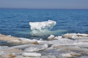 The thawing ice forming on the Great Lakes helps increase water levels with the peak usually somewhere in July.