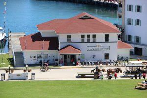 The Mackinac Island State Park Visitor's Center from Fort Mackinac.