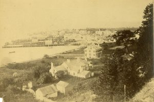View of the Agency House with the Indian Dormitory beyond it.