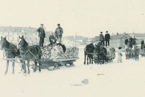 These horse drawn carts are examples of the kind that would have been relied on to transport various foods from the mainland to supply holiday meals for island residents.