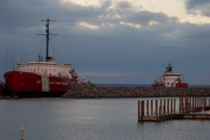 The retired 1944 USCGC Mackinaw (left) is now docked in Mackinaw City as a museum. The 2006 USCGC Mackinaw (right) occasionally stops in port as part of her modern duties.